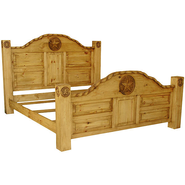 Aztec Mexican Style Solid Wood Pine Bedroom Furniture: Rustic Pine King Rodeo Bed