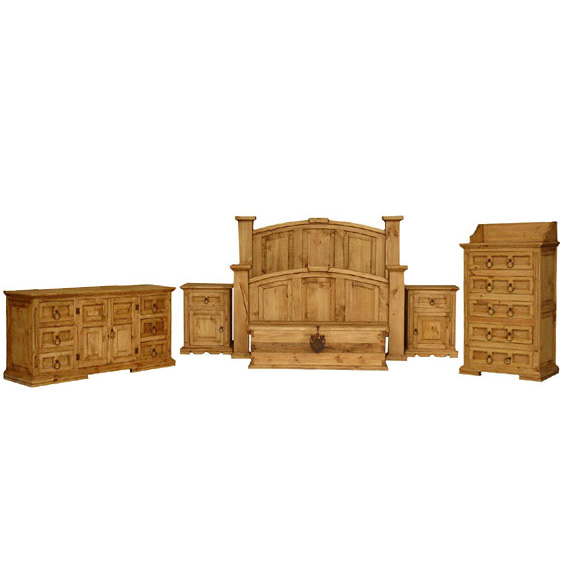rustic pine mansion bedroom set with queen mansion bed
