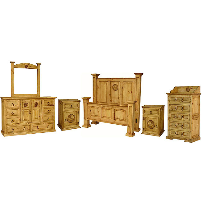 Rustic pine oasis bedroom set with queen oasis star bed for H plan bedroom furniture