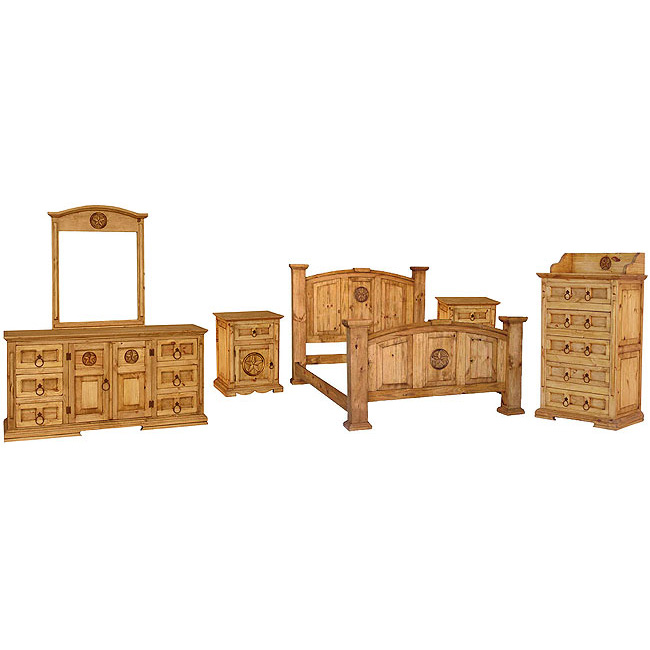 Rustic Pine Mansion Star Bedroom Set With King Mansion Star Bed Rustic
